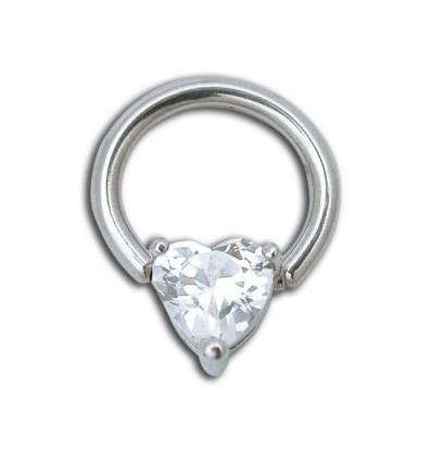 Anneau cristal blanc coeur
