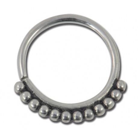 Anneau acier flexible spécial nez 8mm motif billes